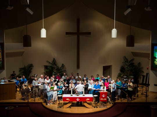 Choir members with The Genesis Ensemble and The Choirs of Area Lutheran Churches rehearse for the 500th Anniversary Reformation Hymn Festival at Hope Lutheran Church in Bonita Springs on Thursday, Oct. 26, 2017. Sunday Oct. 31 marks the 500th anniversary of Martin Luther nailing the Ninety-five Theses on a Catholic church, which began the Reformation and profoundly changed Europe.
