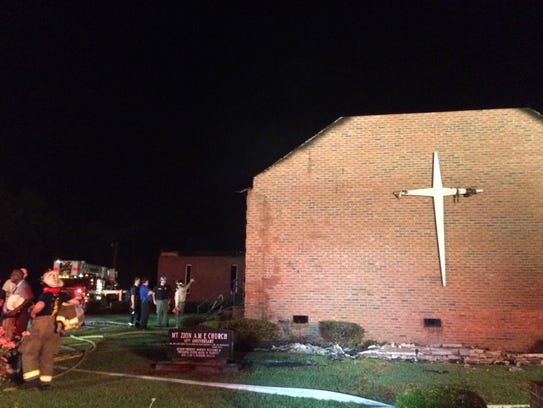 Firefighters at a fire at Mount Zion African Methodist