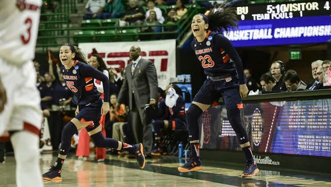 Jessica Jones (23) and Jazmine Jones (15) celebrating during Auburn women's basketball during the first round of the NCAA Basketball Tournament on Friday, March 18, 2016 in Waco, Texas.