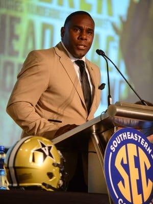 Vanderbilt Commodores coach Derek Mason speaks during SEC media days at the Wynfrey Hotel.