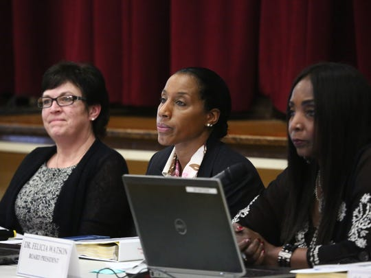 From left, Doreen Clifford, vice president, Nicole Williams, superintendent and Felicia Watson, president of the City of Poughkeepsie School Board during Wednesday's board meeting at Morse Elementary School on Feb 21, 2018.