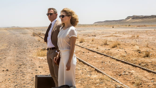 "Daniel Craig, left, and Lea Seydoux appear in a scene from the James Bond film, ""Spectre."""
