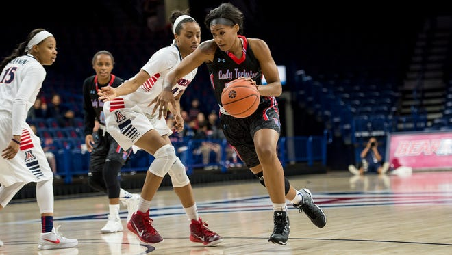 Louisiana Tech's Tiara Davenport drives to the basket in Thursday's game at Arizona. The Techsters host Mississippi State on Sunday.
