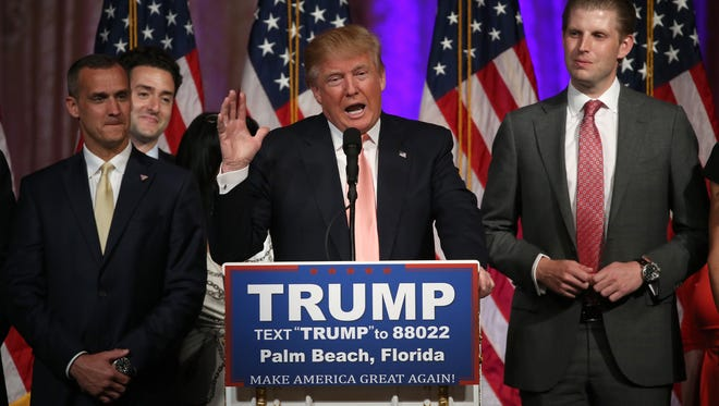 Republican presidential candidate Donald Trump speaks during a primary night press conference at the Mar-A-Lago Club's Donald J. Trump Ballroom Tuesday in Palm Beach, Fla. Trump won the state of Florida and Ohio Gov. John Kasich won the state of Ohio.