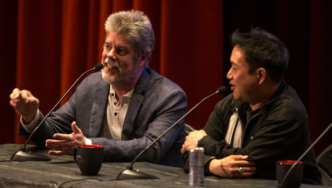 Mike Zapcic and Ming Chen entertain he audience. APP's Fan Theory presents Bell Works Pod Cast Event with Comic Book Men Mike Zapcic and Ming Chen. Neil Mody of SpareMin joins the crew. Holmdel, NJThursday, May 4, 2017@dhoodhood