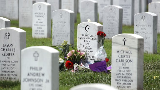 The gravesite of Muslim-American, U.S. Army Capt. Humayun Khan is shown at Arlington National Cemetary.