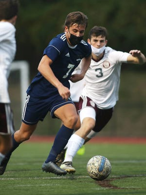 Archbishop Williams' Adam Stelljes attacks the heart of the Bishop Stang defense before finding the back of the net with a strike in the 76th minute of their game at Archbishop Williams on Tuesday, Oct. 20, 2020.