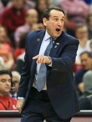 Duke's Mike Krzyzewski wasn't too happy with the outcome as the Cards came back from a 13-point deficit to beat Duke 71-64. Feb. 20, 2016