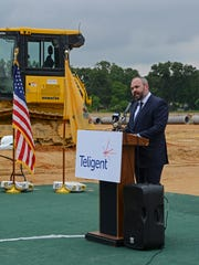 Teligent CEO Jason Grenfell-Garnder speaks at an expansion