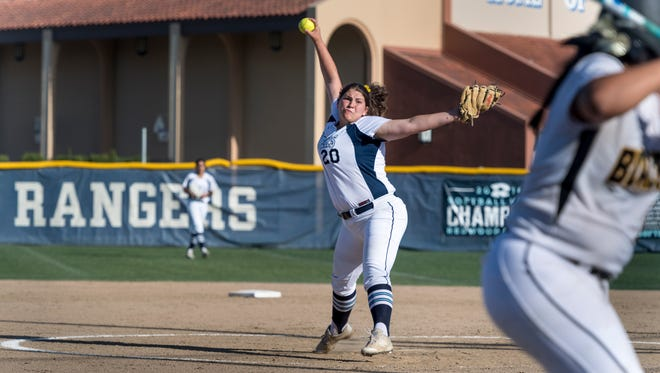 Redwood's Abigail Hillan pitches against Golden West in a West Yosemite League softball game on Thursday, May 3, 2018.