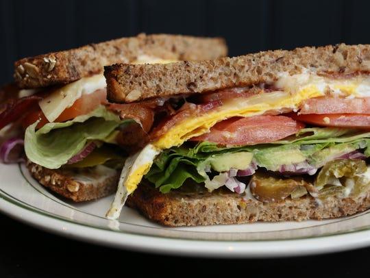 The Fernando sandwich, egg, bacon, avocado, cheddar