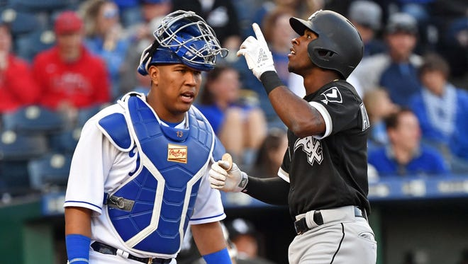 Chicago White Sox shortstop Tim Anderson (7) reacts after hitting a leadoff home run during the first inning against the Kansas City Royals at Kauffman Stadium.