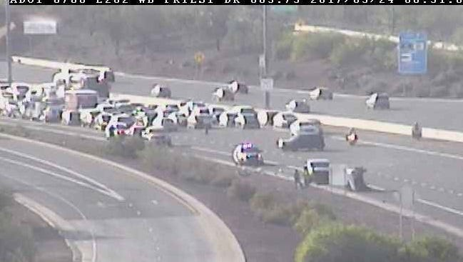 Two additional accidents occurred on the Loop 202 near the roll over as DPS officers responded to the scene Wednesday morning just after 6 a.m.