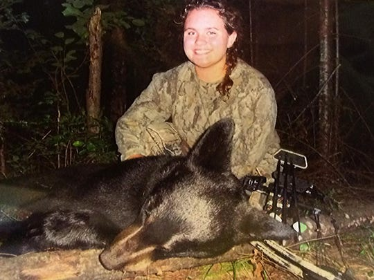 Lynaya Spang of De Pere arrowed this bear in Vilas County in 2014 at age 14 while taking part in the state's Learn to Hunt Bear Archery program.