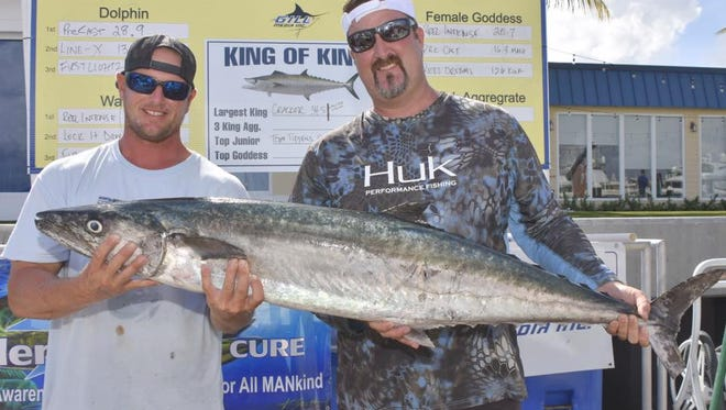 James Maley and Tony Vercillo, both of Fort Pierce, along with Tom Kenney of Fort Pierce, captain of Offshore Warrior fishing team, scored the winning kingfish at a tournament in West Palm Beach on Saturday by fishing in shallow water off North Beach in Fort Pierce.