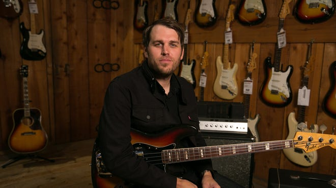 Dustin Hinz, Guitar Center's director of music marketing, poses at the Sunset Boulevard store.
