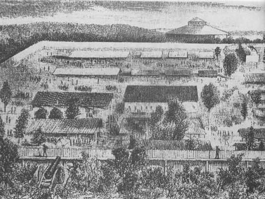 Camp Oglethorpe was located south Macon, Georgia, on the old fairgrounds. The stockade fencing was 16 feet high. (National Park Service)