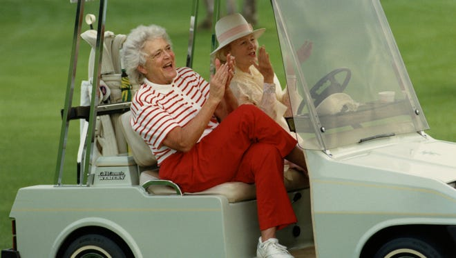 Barbara Bush and Leonore Annenberg on the Sunnylands golf course March 3, 1990.