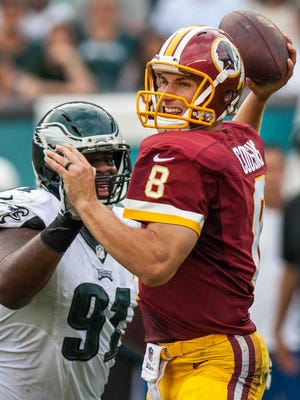 Eagles defensive tackle Fletcher Cox (91) said it will be important to get pressure on Washington quarterback Kirk Cousins.
