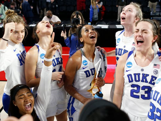 Duke celebrates after defeating Belmont 72-58 in a first-round game in the NCAA women's college basketball tournament in Athens, Ga., Saturday, March. 17, 2018. (AP Photo/Joshua L. Jones)