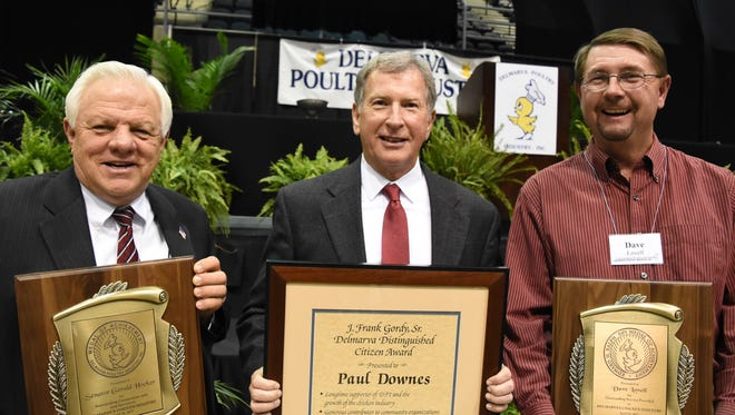 The Delmarva Poultry Industry Booster Banquet welcomed Delaware State Sen. Gerald Hocker (left), Mountaire Farms President and CEO Paul Downes and Virginia chicken grower Dave Lovell.
