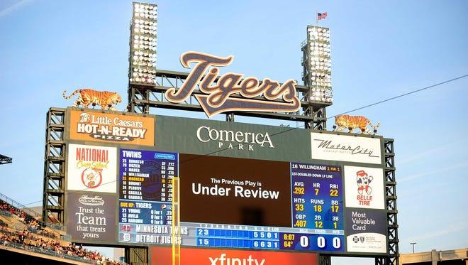 Detroit Tigers scoreboard at Comerica Park.