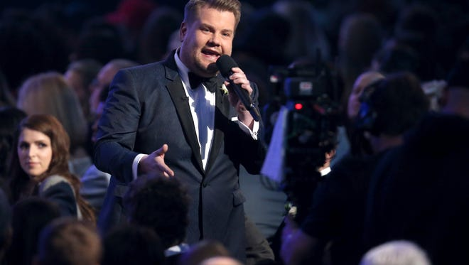 James Corden speaks from the audience at the 60th annual Grammy Awards at Madison Square Garden on Sunday, Jan. 28, 2018, in New York. (Photo by Matt Sayles/Invision/AP)