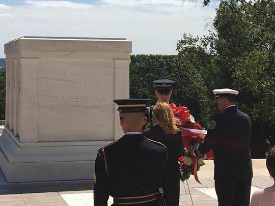 Presentation of a wreath from the Lyon Township Fire Department at the Tomb of the Unknowns at Arlington National Cemetery.