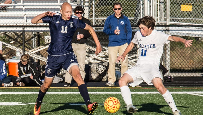 John Ford of Stephen Decatur and Blake Groves of Kent Island square off at the beginning of the first half. Kent Island Highs School comes into the championship game with 11 and 1 season and Stephen Decatur season was 10-0-2.