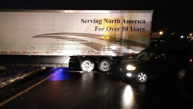 A tractor trailer jack-knifed on U.S. 35 east near Pleasant Valley Road Monday morning, leading to about a three-hour closure of the eastbound lanes.