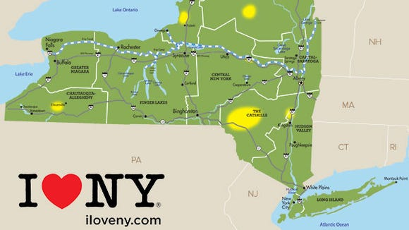 New York keeps a weekly map of the fall foliage across the state at its I Love NY website.