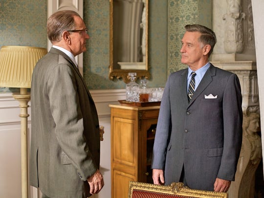 "In ""LBJ,"" Johnson (Woody Harrelson (left) confronts"