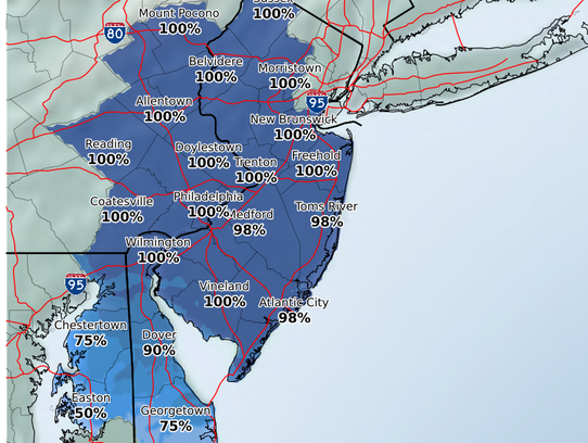 The likelihood that an area gets at least a dusting