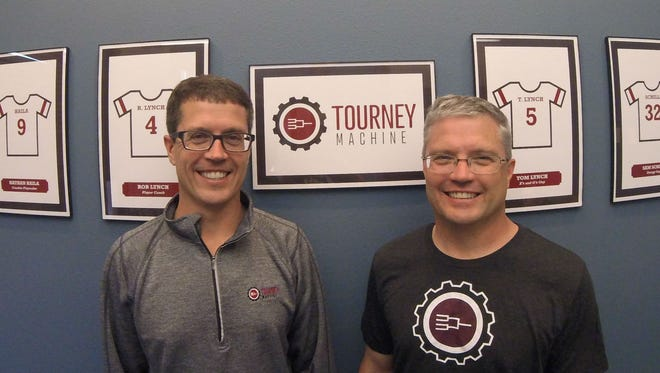 Tourney Machine co-founders Rob Lynch, left, and Tom Lynch on April 20, 2016.