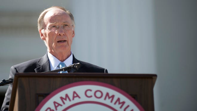 Gov. Robert Bentley speaks during Alabama Community College Day on the Alabama Capitol lawn on Tuesday.