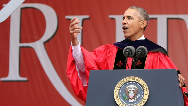 President Barack Obama delivers the commencement address during Rutgers University's 250th Anniversary Commencement at High Point Solutions Stadium in Piscataway, NJ, Sunday, May 15, 2016.  (Photo by Thomas P. Costello / Asbury Park Press)