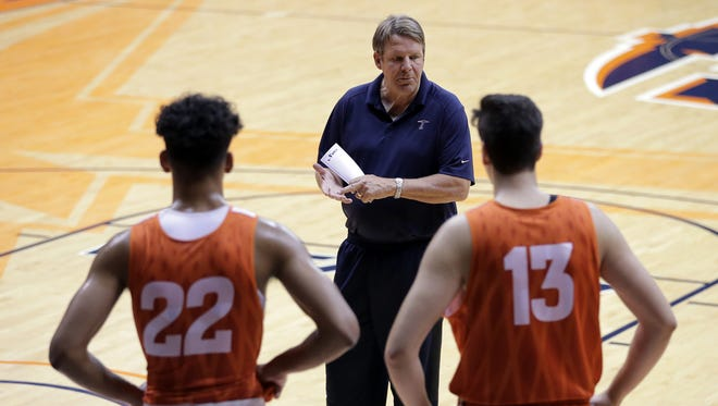 UTEP head basketball coach Tim Floyd lays out his expectations during the team's first practice Thursday.