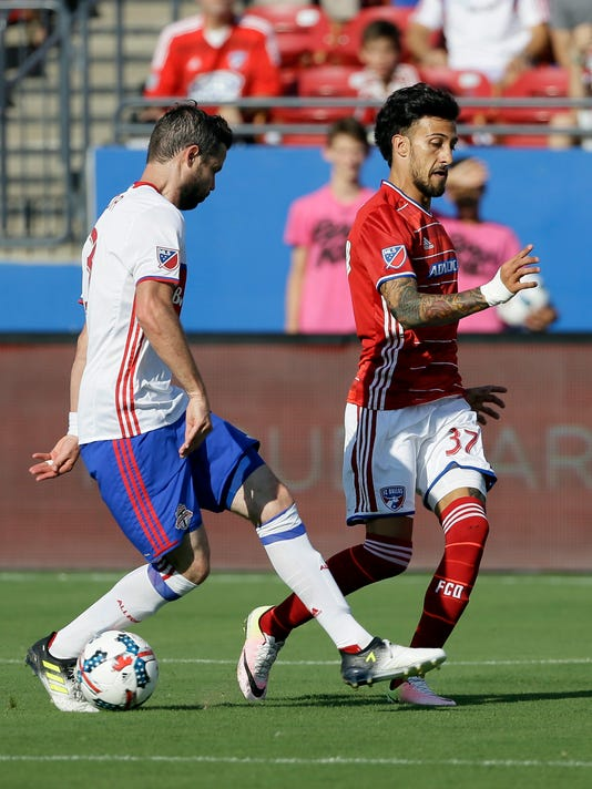 FC Dallas forward Maximiliano Urruti (37) makes a pass between the legs of Toronto FC defender Drew Moor for the assist on a Roland Lamah goal during the first half of an MLS soccer match, Saturday, July 1, 2017, in Frisco, Texas. (AP Photo/Tony Gutierrez)