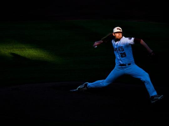 Missouri State starting pitcher Austin Knight throws