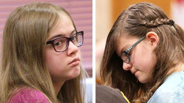Morgan Geyser (left) is brought into court by sheriff's deputy.  Anissa Weier (right) is led out of the courtroom by a sheriff's deputy. Photos from the arraignment of the Slenderman stabbing girls in Waukesha County Court.  The court entered a not guilty plea for them and moved to set a trial date in mid-October.