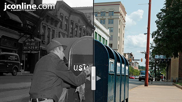 Looking south on Fourth Street in front of the Charles A. Halleck Federal Building, 1955 compared to 2014.