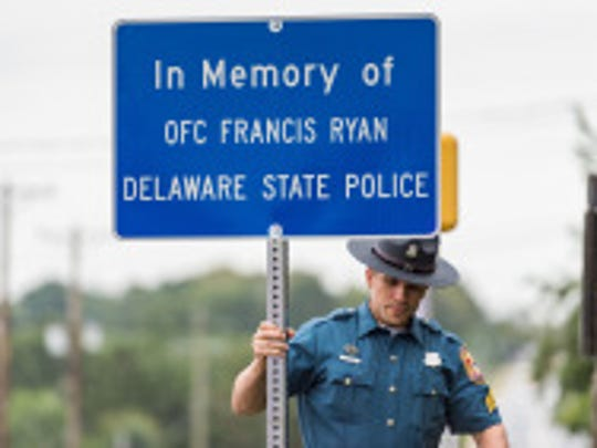 Delaware State Police Officer Francis Ryan's memorial sign on Philadelphia Pike and Holly Oak Road in Wilmington.