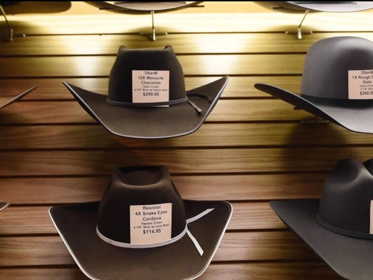 Cowboy hats at D Bar M Western Store