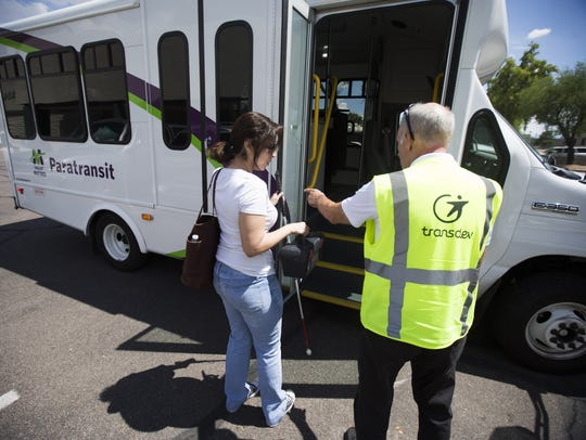 Adriana Parra walks to her Dial-a-Ride outside Marjon