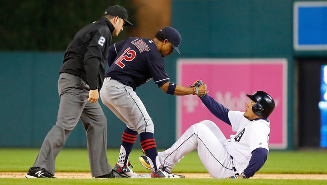 Tigers first baseman Miguel Cabrera is tagged out at second base trying to stretch a single by Indians shortstop Francisco Lindor during the first inning Sept. 28, 2016 at Comerica Park.