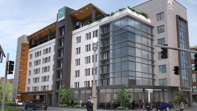 A rendering of the 140-room hotel at Market and Shelby streets, which will be an AC Hotel by Marriott.