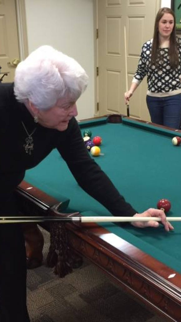 Haley Jenkins and a resident play pool (Photo courtesy of Haley Jenkins)
