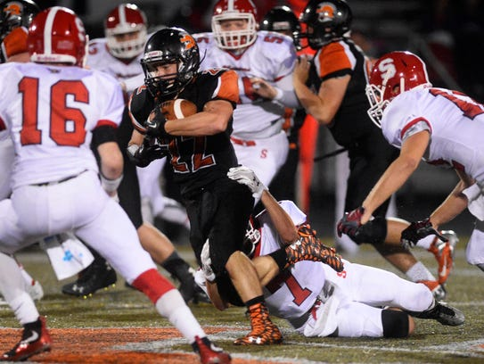 York Suburban's Teague Hoffman tries to slip the grip