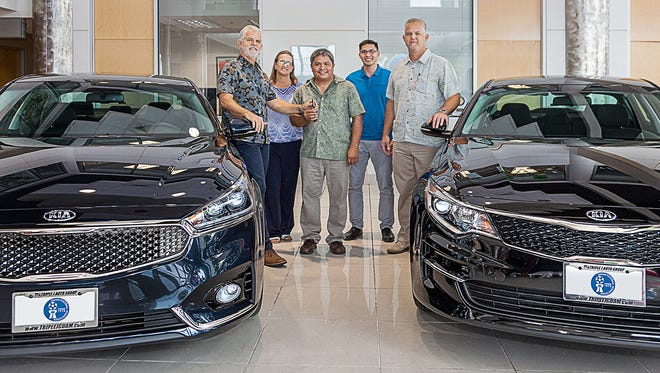 From left are: Jeff Jones, President and COO of Triple J; Cheri Stewart, Executive Director of GFA; Tino San Gil, President of GFA; Micah Paulino, General Secretary of GFA, and Jay Jones, Senior VP of Triple J.