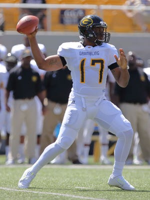 Grambling State Tigers quarterback Johnathan Williams (17) throws the ball against the California Golden Bears during the first quarter at Memorial Stadium earlier this season.